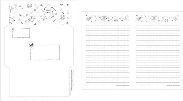 printable space stationery set