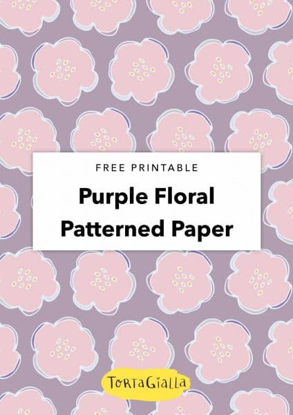 free printable purple floral patterned paper