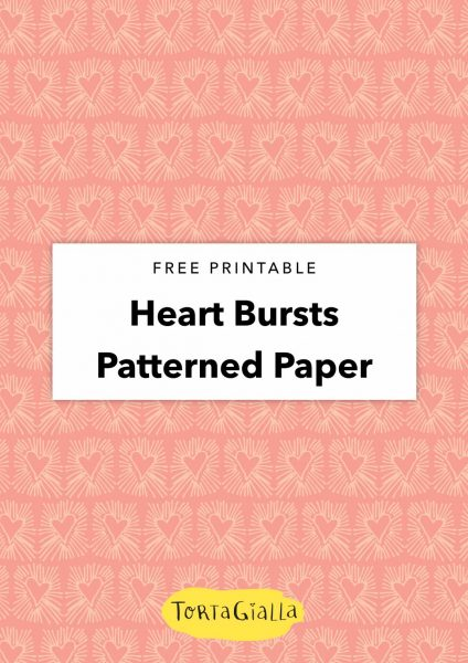 free printable heart bursts patterned paper