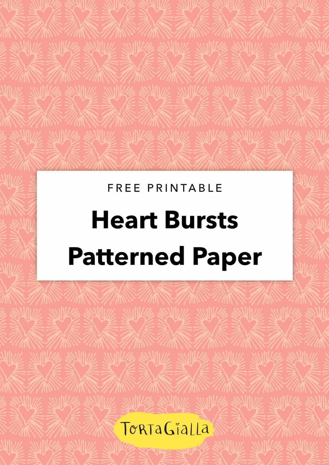 Looking for free scrapbook paper downloads? Here's a fun heart burst patterned paper design that you can use in all kinds of papercrafting projects.