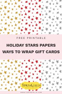 free printable holiday stars patterned paper + ways to wrap gift card // tortagialla.com