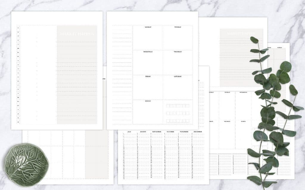 Blank Calendar Printables // Includes perpetual blank daily page, weekly page, monthly page and yearlong list // Printable download means you can print as many copies as you like and use ongoing // Monday start calendars