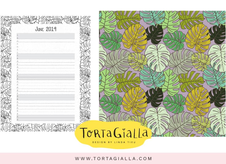 June 2019 Patreon Printables - B/W Desk Calendar and Tropical Leaves Patterned Paper - designed by tortagialla.com - fine me on patreon.com/tortagialla