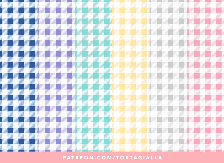 Spring Gingham Printable Papers in Pink, Grey, Yellow, Green, Purple and Blue on https://patreon.com/tortagialla