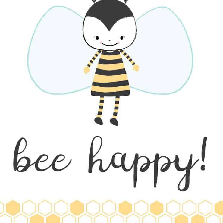 bee happy art printable