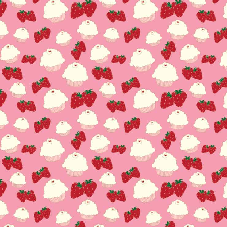 Cupcake and Strawberries Printable Paper
