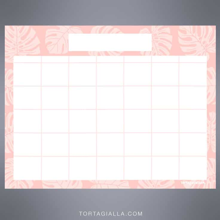 Monstera Leaves on pink printable blank calendar monthly - FREE DOWNLOAD