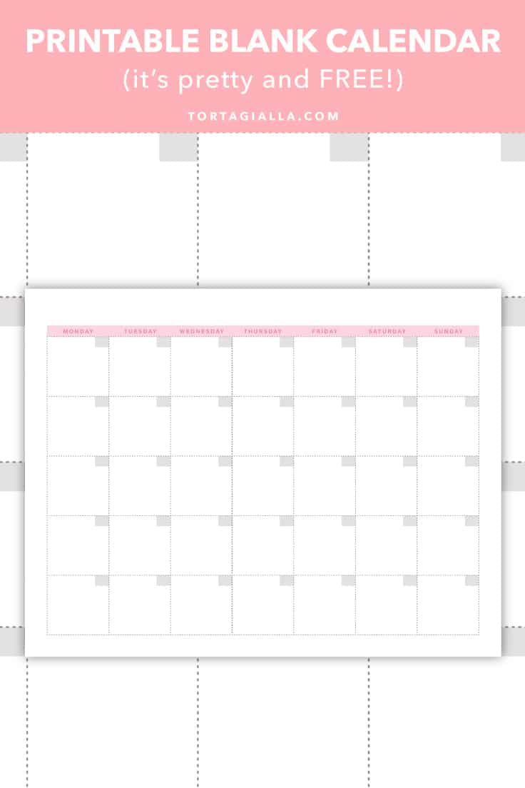 Printable Blank Calendar (it's pretty and FREE!) - Available for free download on tortagialla.com