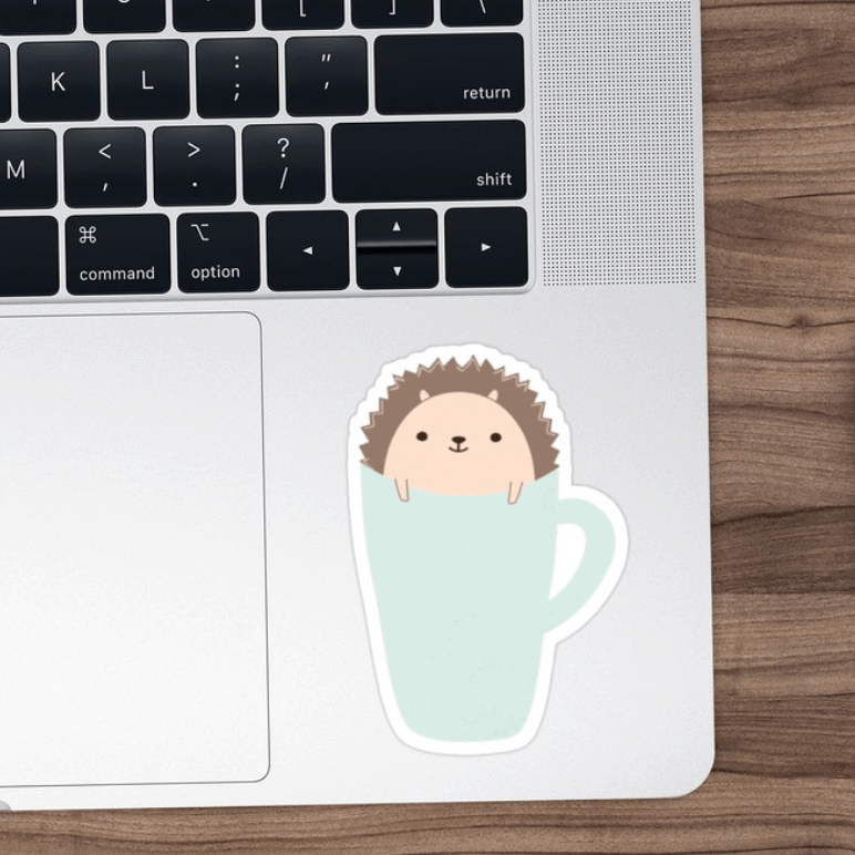 Cute Hedgehog in a Cup - Sticker by LindaTieuArt - on Redbubble
