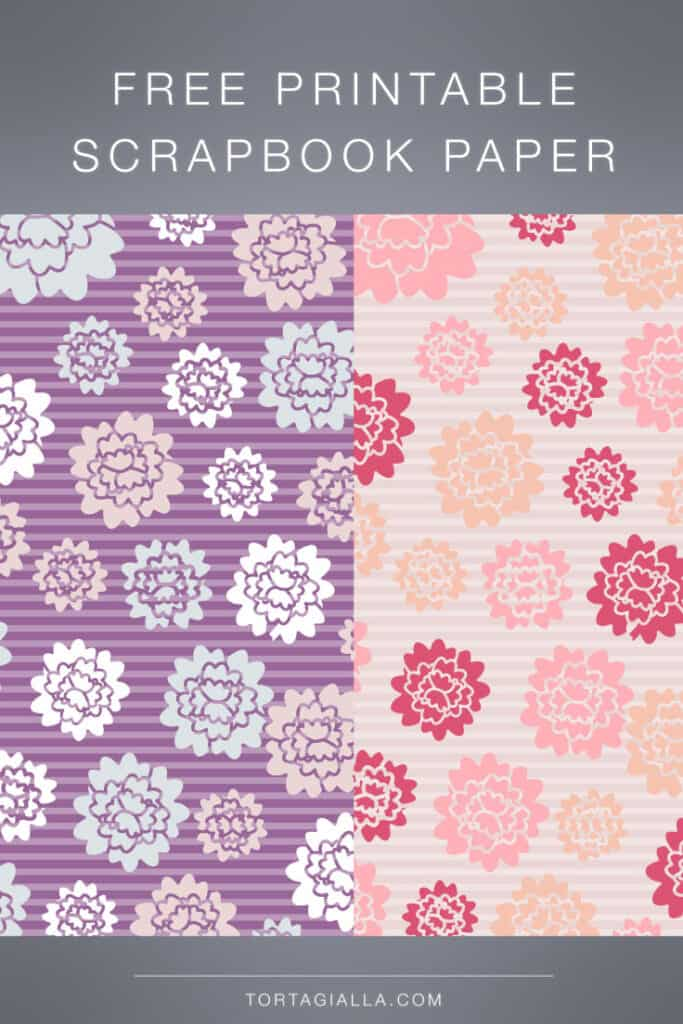 Free printable scrapbook paper in floral designs purple and pink for download.