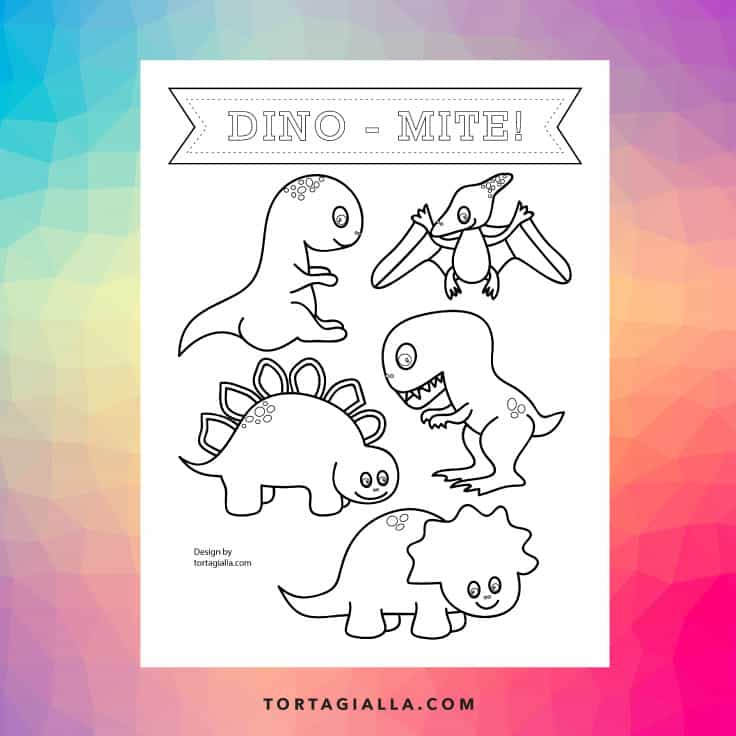 Download this free printable dinosaur coloring page for your kids, because they'll love to color up these cute dino characters!