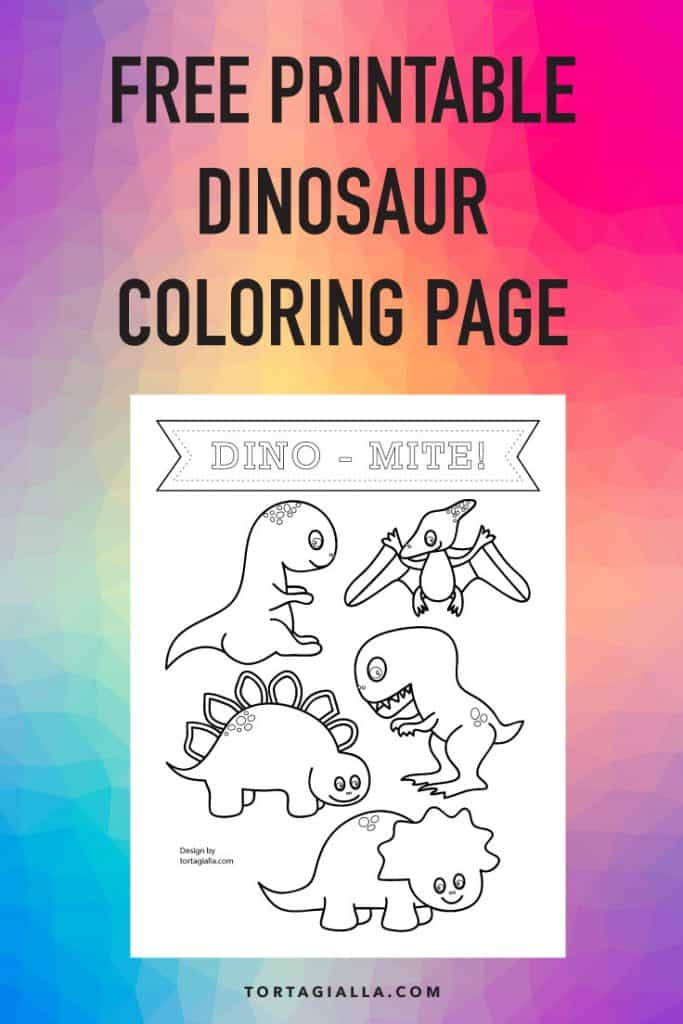 Get this freebie download for your kids to color up a page of cute dinosaurs!