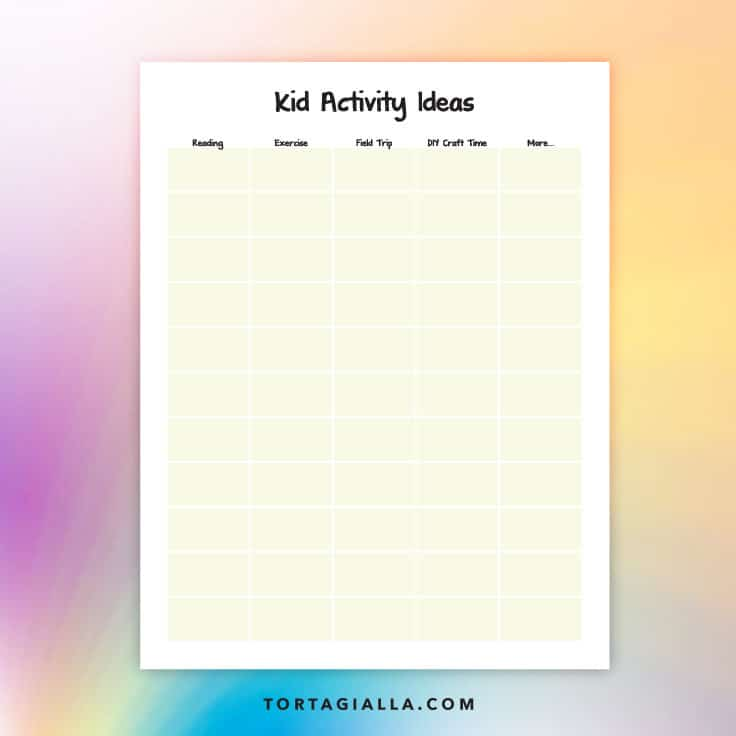 Use this free printable download to brainstorm kid activity ideas, because we need to keep them busy and help them grow and learn at the same time!