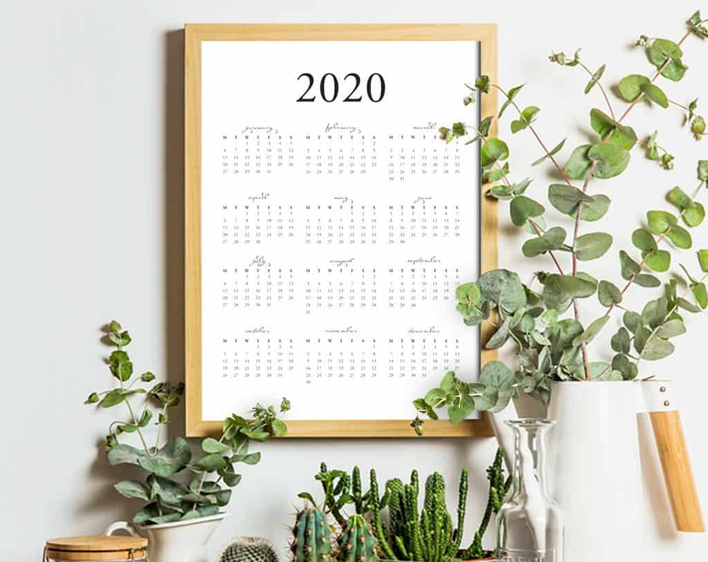 FREE printable 2020 yearly calendar PDF on tortagialla.com