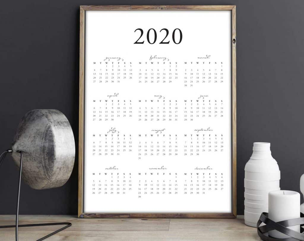 Get your FREE printable 2020 yearly calendar download on tortagialla.com