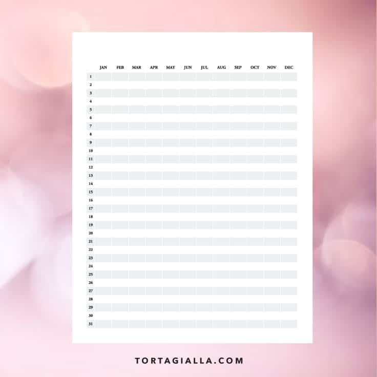Project calendar template printable on tortagialla.com - FREE DOWNLOAD