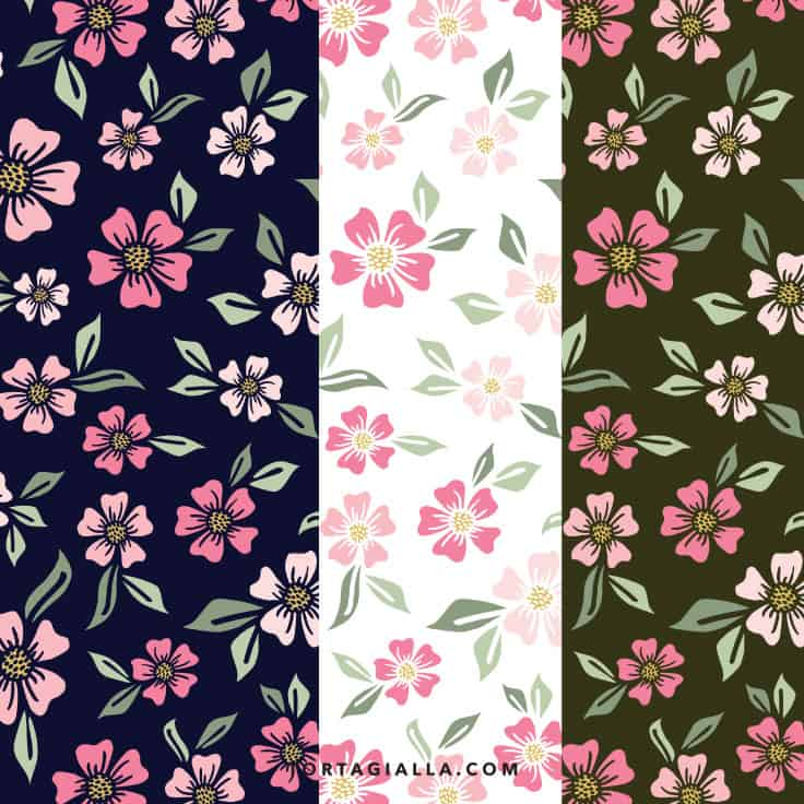 Floral printable papers on tortagialla.com