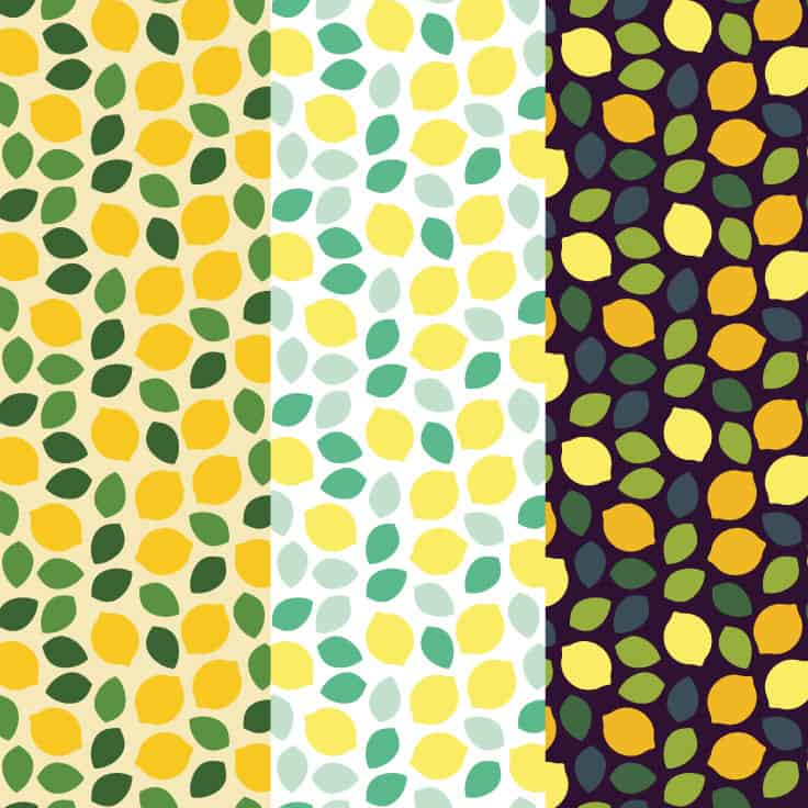 Lemon scrapbook paper designs in yellow, light and dark variations.