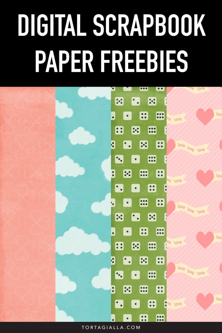 Download these pretty digital scrapbook paper freebies and use them in your photo projects or hybrid crafting as printables! // tortagialla.com