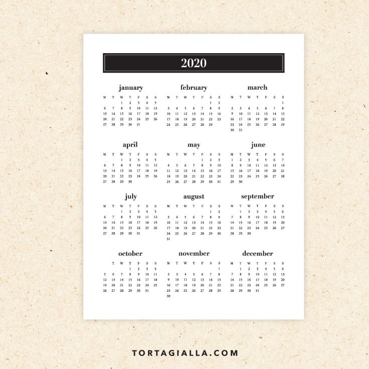 Preview of 2020 printable calendar - monday start black and white minimalist style