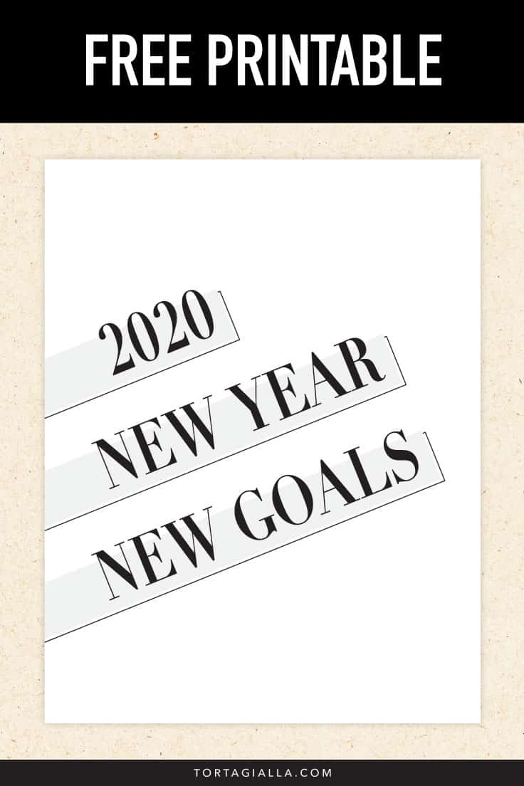 Free Printable - 2020 new year new goals printable pdf download preview.