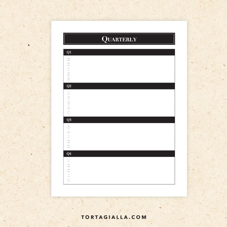 Preview of quarterly calendar printable for planning.