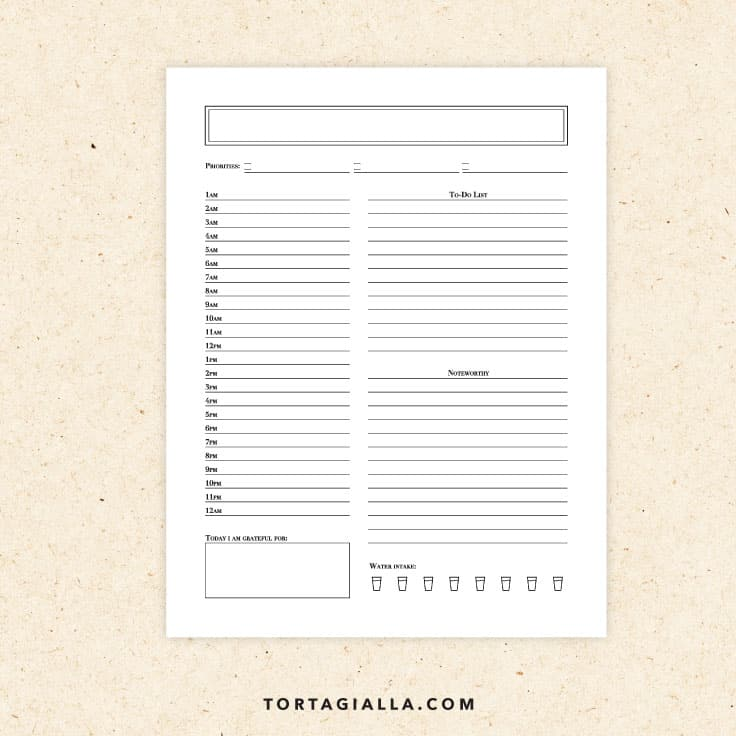 Preview of blank daily planner printable page.