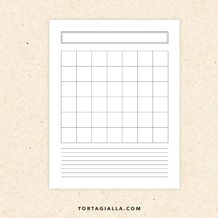Preview of blank monthly planner printable page.