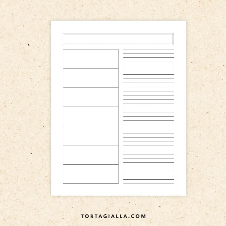 Preview of blank weekly horizontal planner printable page.