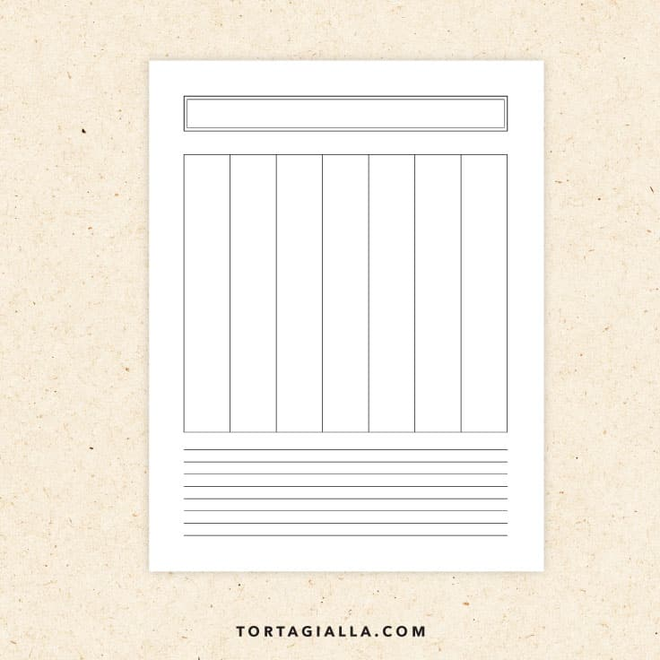 Preview of blank weekly vertical planner printable page.