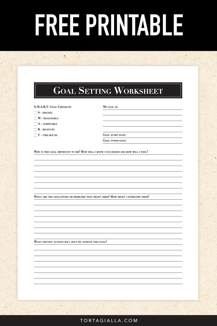 FREE Goal Setting Worksheet Printable - Don't just drift through your life. Use this goal setting worksheet printable to set smart goals and move forward with intention by taking action!