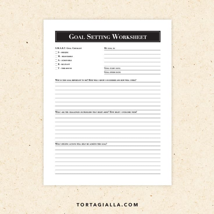 Preview of free goal setting worksheet printable on tortagialla.com
