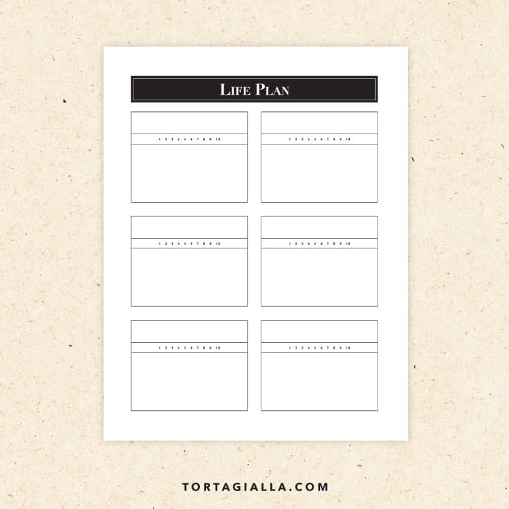 Preview of life planning template pdf with 6 boxes to fill in.