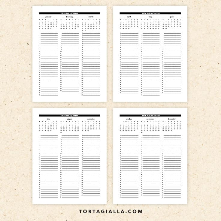 2020 quarterly calendar pages - free PDF download printable