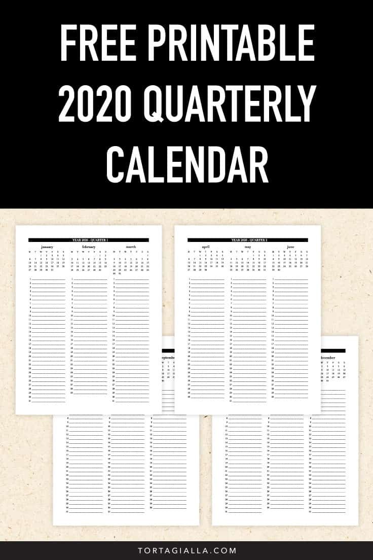 Free printable 2020 quarterly calendar printable download on tortagialla.com