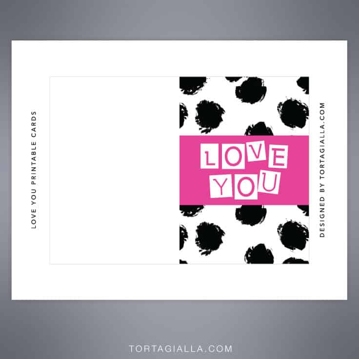 free download love you printable card design