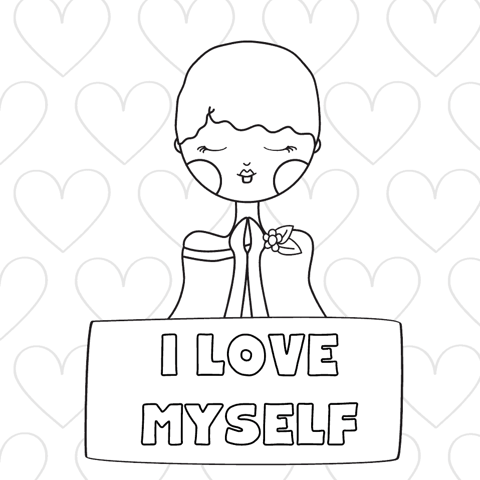 I love Myself positive affirmation girls coloring page preview