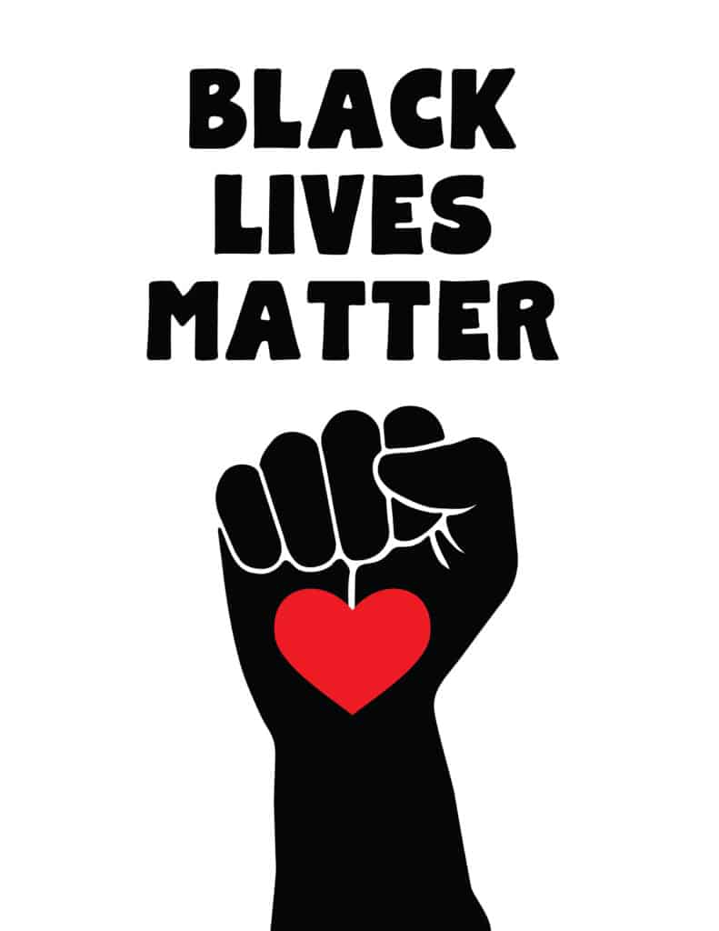 Black Lives Matter with fist heart design