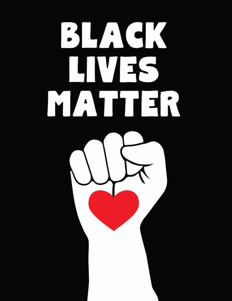 Black lives matter on black with fist heart design