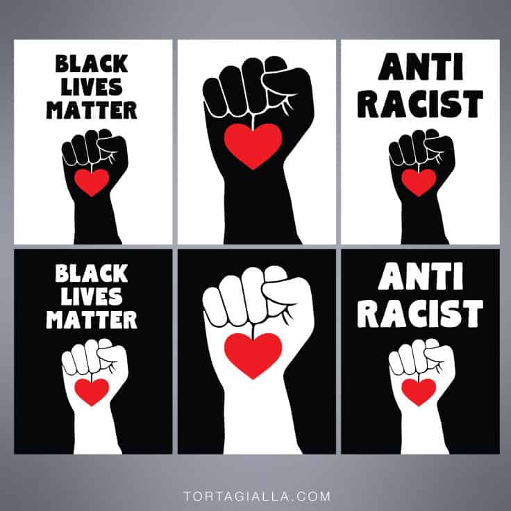 free printable black lives matter and first heart anti racist poster sign