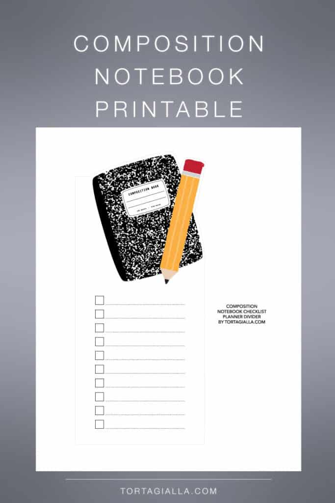 Free composition notebook printable