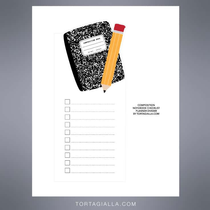 Preview of composition notebook printable PDF download