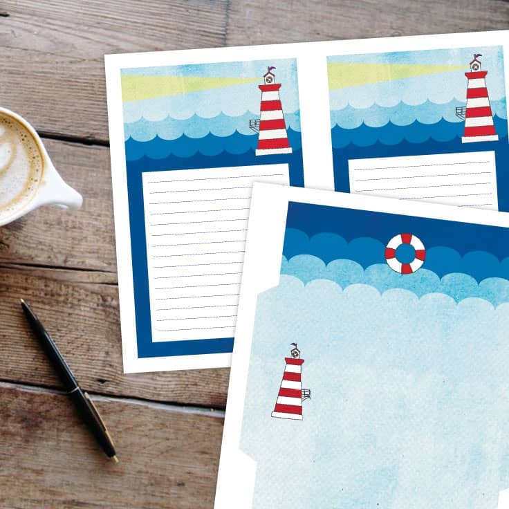 Free Printable Stationery Lighthouse Design