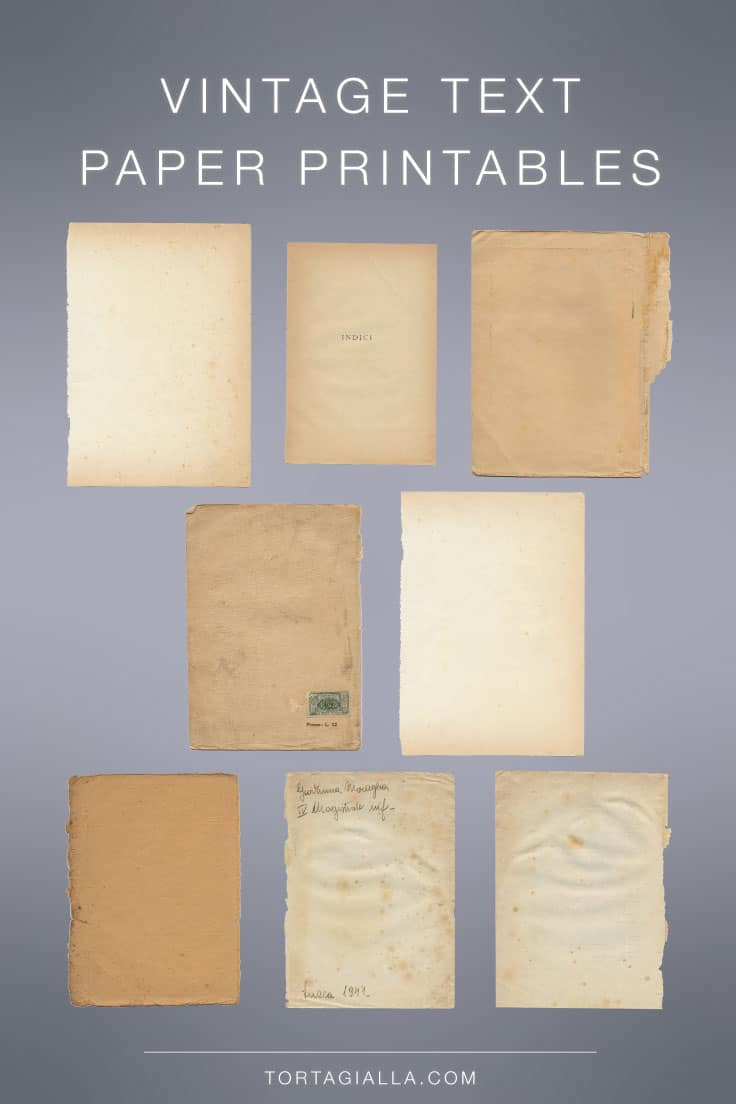 Looking for some vintage texture paper printables? Here are 8 different high resolution scans of vintage book papers to download and print!
