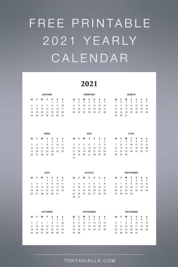 Download this free printable 2021 yearly calendar at-a-glance view.
