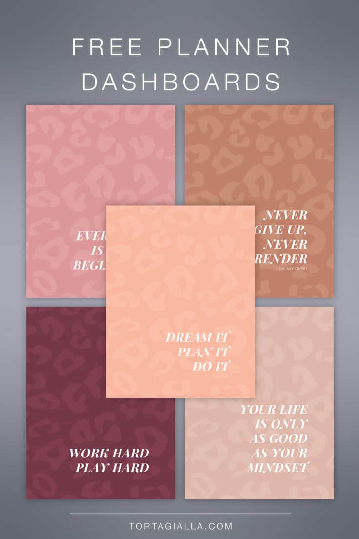 Motivational inspirational free printable planner dashboards to download!