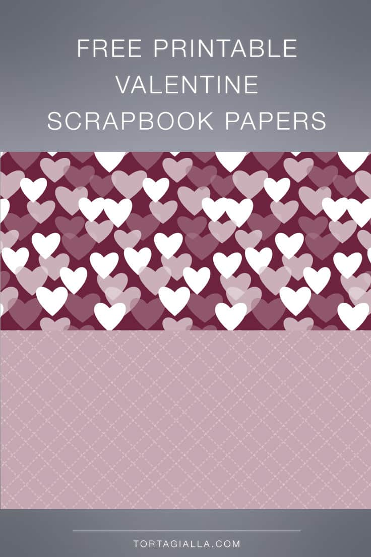 Looking for a free printable valentine scrapbook paper? Download this all over heart design with matching lined design for your projects!