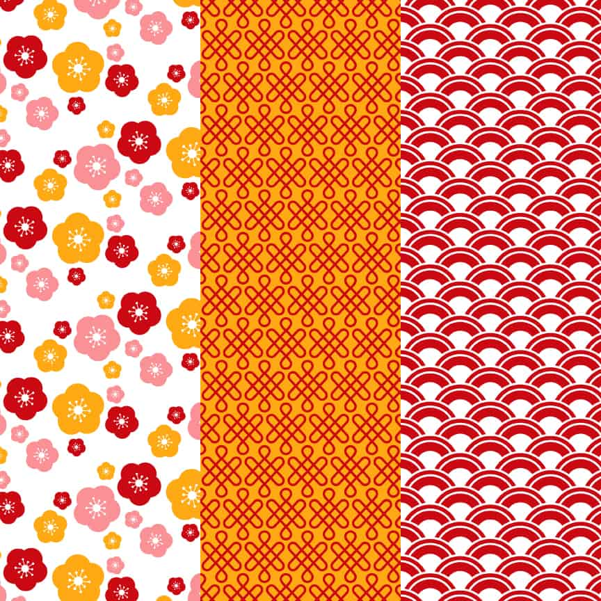 Chinese New Year style of pattern papers for free download.
