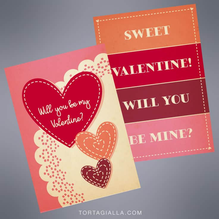 Preview of free printable valentine cards - Will you be my Valentine? and Sweet Valentine will you be mine? in a modern vintage design style.
