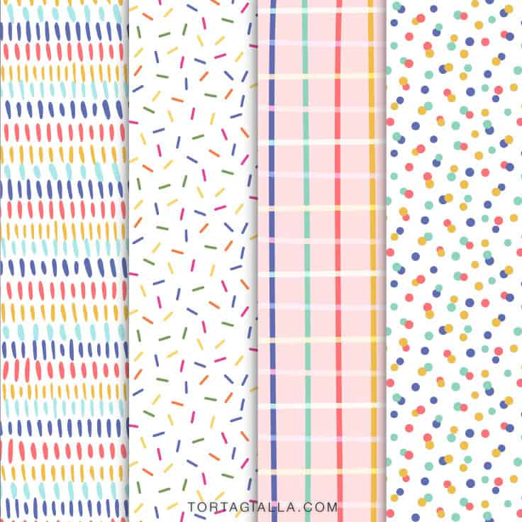 FREEBIE Birthday Pattern Paper Downloads for papercrafting, scrapbooking and gift wrapping - free download on tortagialla.com